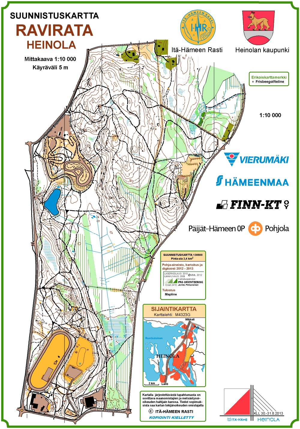 Ykuppi Heinola Ravirata September 4th 2013 Orienteering Map
