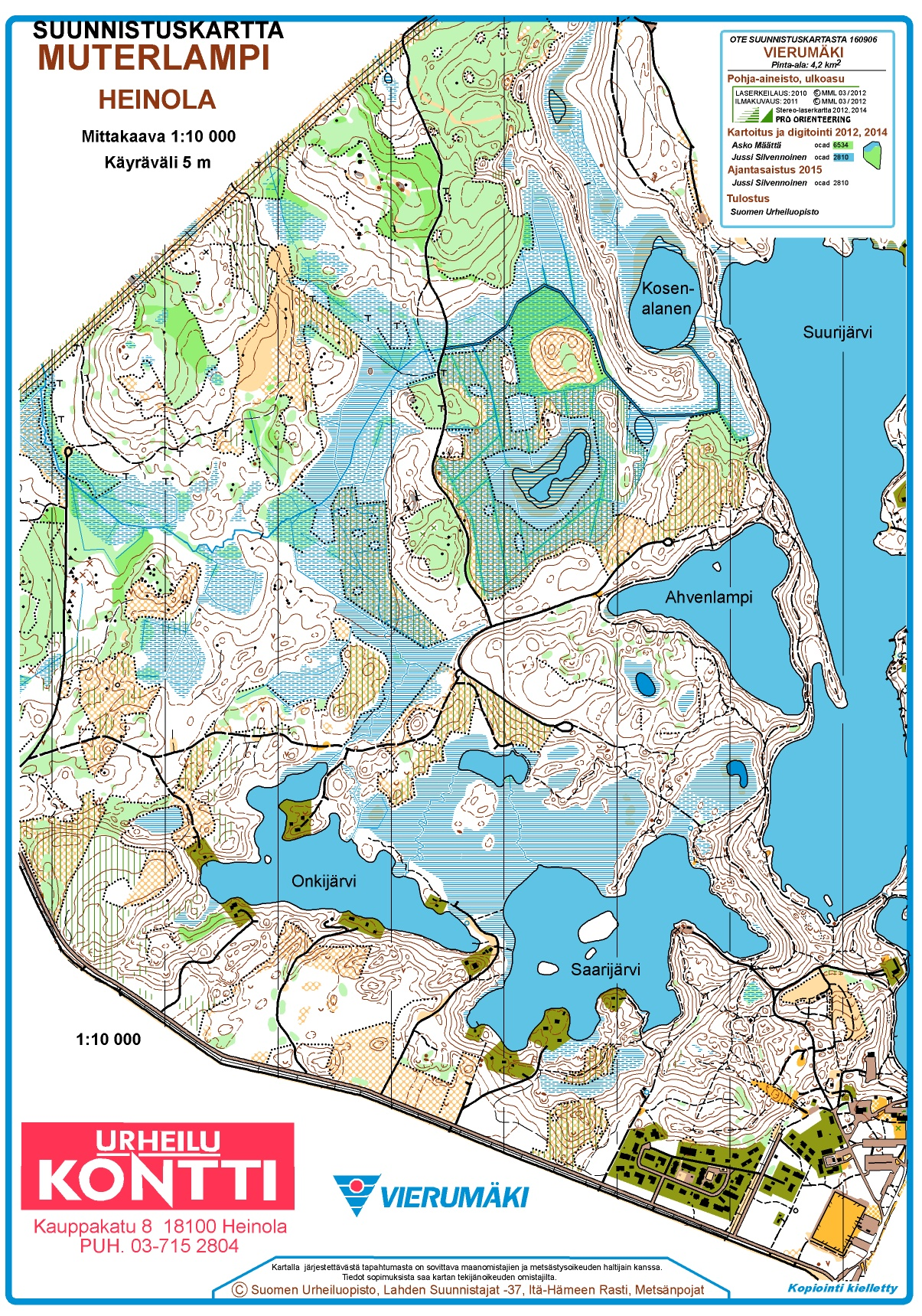 Ykuppi Vierumki Heinola October 11th 2017 Orienteering Map